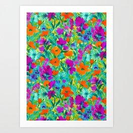 Wild Garden Teal Art Print