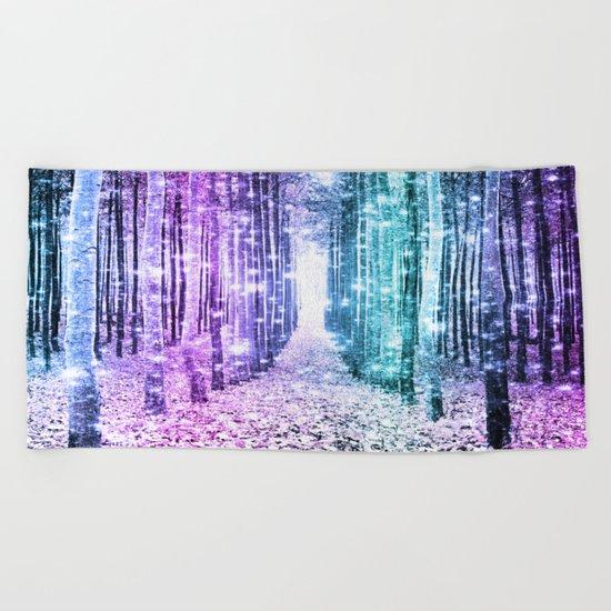 Magical Forest Lavender Aqua Teal Ombre Beach Towel