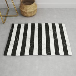 Marble Stripes Pattern 2 - Black and White Rug
