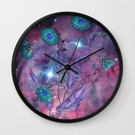 Space Flowers Wall Clock
