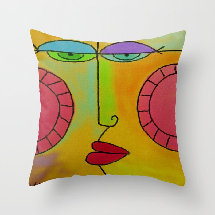 Funky Face Abstract Digital Painting Throw Pillow by jackieludtke ... 71949f42a