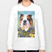 english bulldog Long Sleeve T-shirts featuring Chic English Bulldog by Jai Johnson