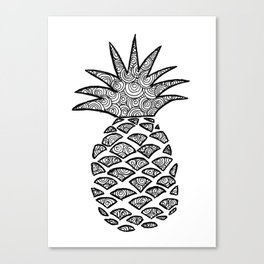 Pineapple Black and White Pattern Canvas Print