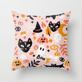 Trick Or Treat Yourself – Blush Throw Pillow