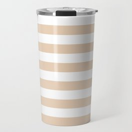 Narrow Horizontal Stripes - White and Pastel Brown Travel Mug