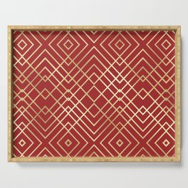Modern Chinese Red Art Deco Geometric Pattern Serving Tray