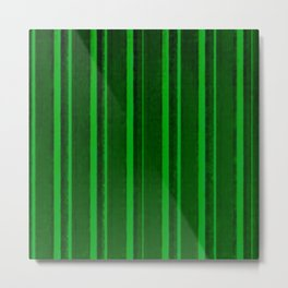 Retro Green Grunge Primitive Stripe Metal Print