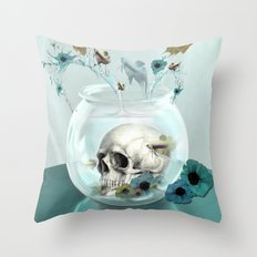 Looking glass skull Throw Pillow