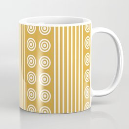 Geometric Golden Yellow & White Vertical Stripes & Circles Coffee Mug