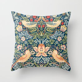 The strawberry thieves pattern by William Morris. British textile art. Throw Pillow