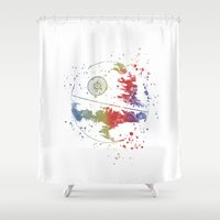 death star Shower Curtains featuring Death Star Star . Wars by Carma Zoe