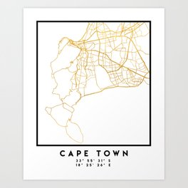 CAPE TOWN SOUTH AFRICA CITY STREET MAP ART Art Print