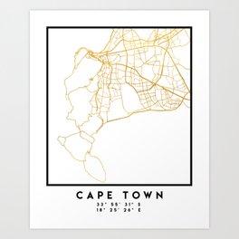 CAPE TOWN SOUTH AFRICA CITY STREET MAP ART Art Print