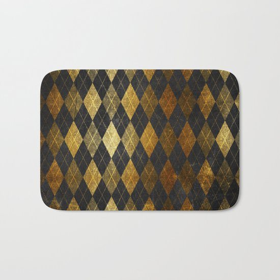 Black and gold geometric abstract pattern II- Luxury design for your home Bath Mat