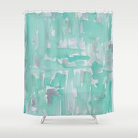 aqua Shower Curtains featuring Aqua by Georgiana Paraschiv