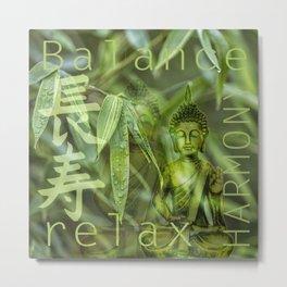 Buddha Bamboo Relax Balance Zen Metal Print