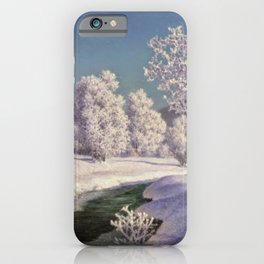 Winter Morning, After New Snow, Along the Emerald Stream by Ivan Fedorovich Choultsé iPhone Case