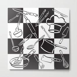 Kitchen Tools Checkerboard Metal Print