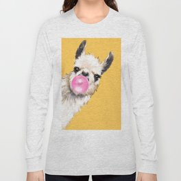 Bubble Gum Sneaky Llama in Yellow Long Sleeve T-shirt