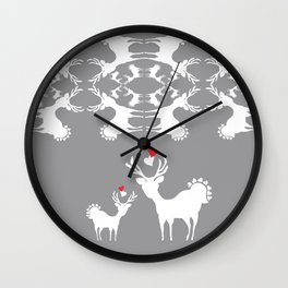 Cervidae Deer Pattern with Heart Wall Clock