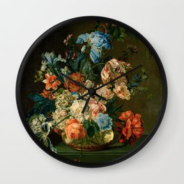 """Cornelia van der Mijn """"Still Life with Flowers"""" Wall Clock"""
