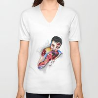 zombie V-neck T-shirts featuring Zombie by Camille Ratté