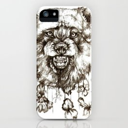 wolf and flowers iPhone Case