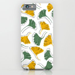 Ginkgo Biloba leaves pattern offset - Green and Yellow iPhone Case