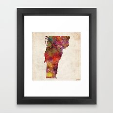 vermont map painting Framed Art Print