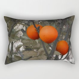 Three oranges on an orange tree Rectangular Pillow