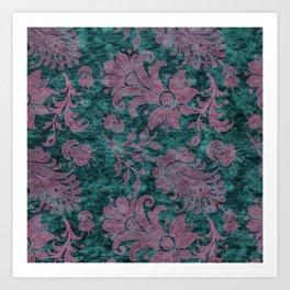 Burgundy Turquoise Velvet Floral Pattern 06 Art Print