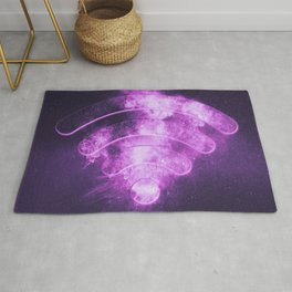 Wi Fi sign. Wi-Fi symbol. Abstract night sky background Rug