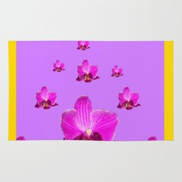 PURPLE ORCHID FLOWERS RAIN YELLOW ART Rug