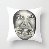 fear Throw Pillows featuring Fear by Magdalena Almero