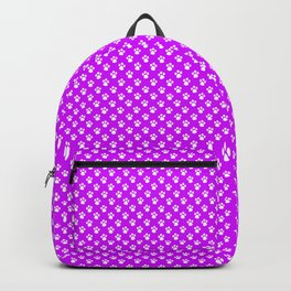 Tiny Paw Prints Pattern - Bright Magenta and White Backpack