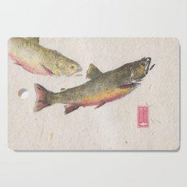 Pair of Brook Trout- Gyotaku Cutting Board
