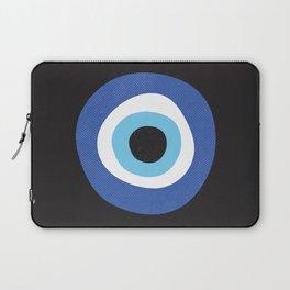 Blue Evil Eye Symbol Lucky Charm Black Background Laptop Sleeve