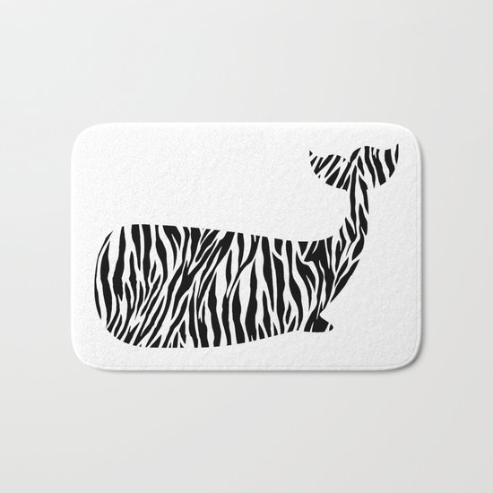 Whale with zebra print Bath Mat