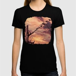 Picturly Purple Sky Leafless Branches and Birds T-shirt