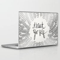 treat yo self Laptop & iPad Skins featuring Treat Yo Self – Silver by Cat Coquillette