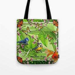 Birdy & Fishy spring green Tote Bag