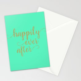 Happily Ever After - Mint and Gold Stationery Cards