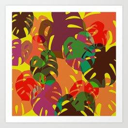 multicolored monstera Art Print