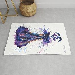 Watercolor Elephant Om Yoga Splatters Rug