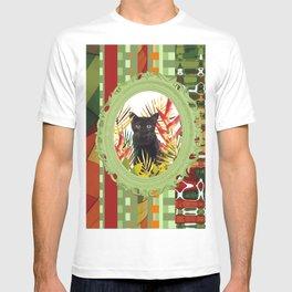 Black Cat jungle Frame pattern T-shirt