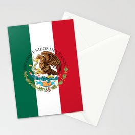 Mexican flag augmented scale with Coat of Arms Stationery Cards