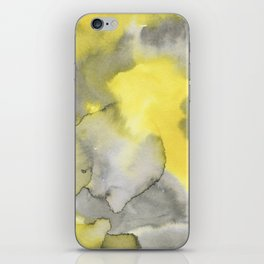 Hand painted gray yellow abstract watercolor pattern iPhone Skin