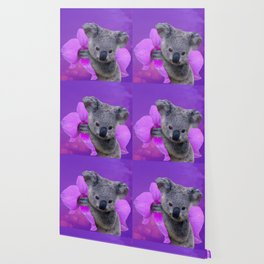 Koala and Orchid Wallpaper
