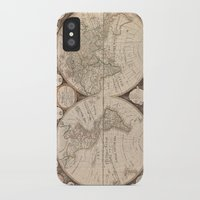 world map iPhone & iPod Cases featuring World Map by Le petit Archiviste