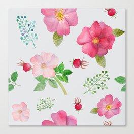 Rosehip Spring Garden Floral Pattern Canvas Print